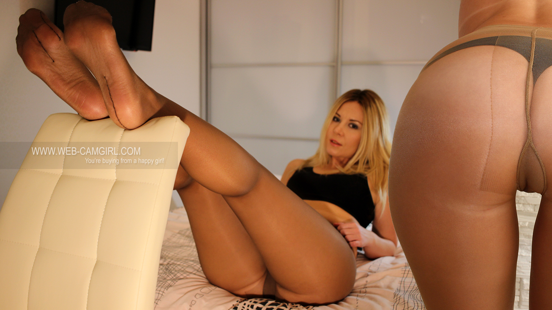 female in worn nude pantyhose